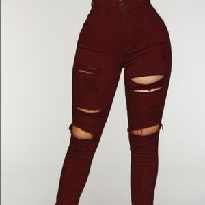 "Fashion Nova ""Blanched"" Burgundy Jeans"